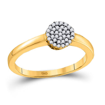 GND Diamond Cluster Ring 10kt Yellow Gold Womens Round Diamond Cluster Ring 1/8 Cttw