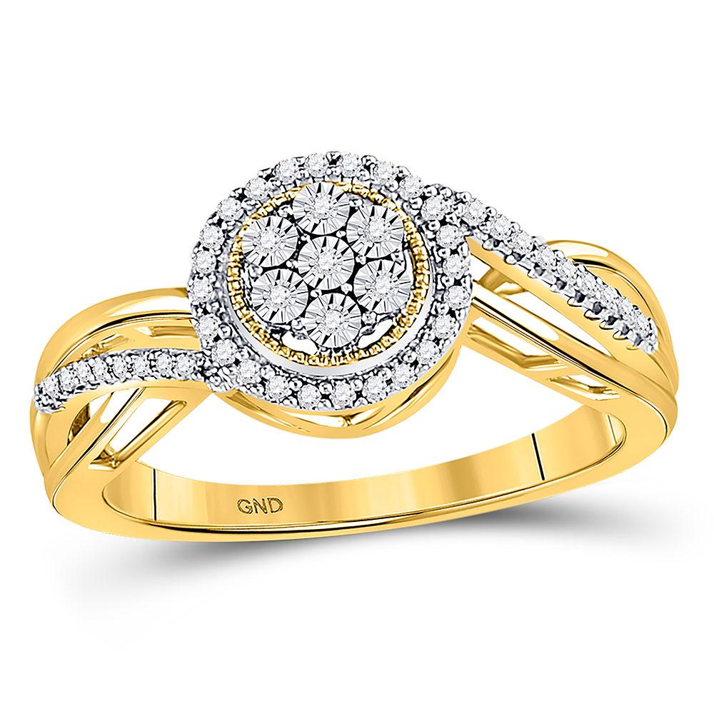 GND Diamond Cluster Ring 10kt Yellow Gold Womens Round Diamond Flower Cluster Ring 1/6 Cttw