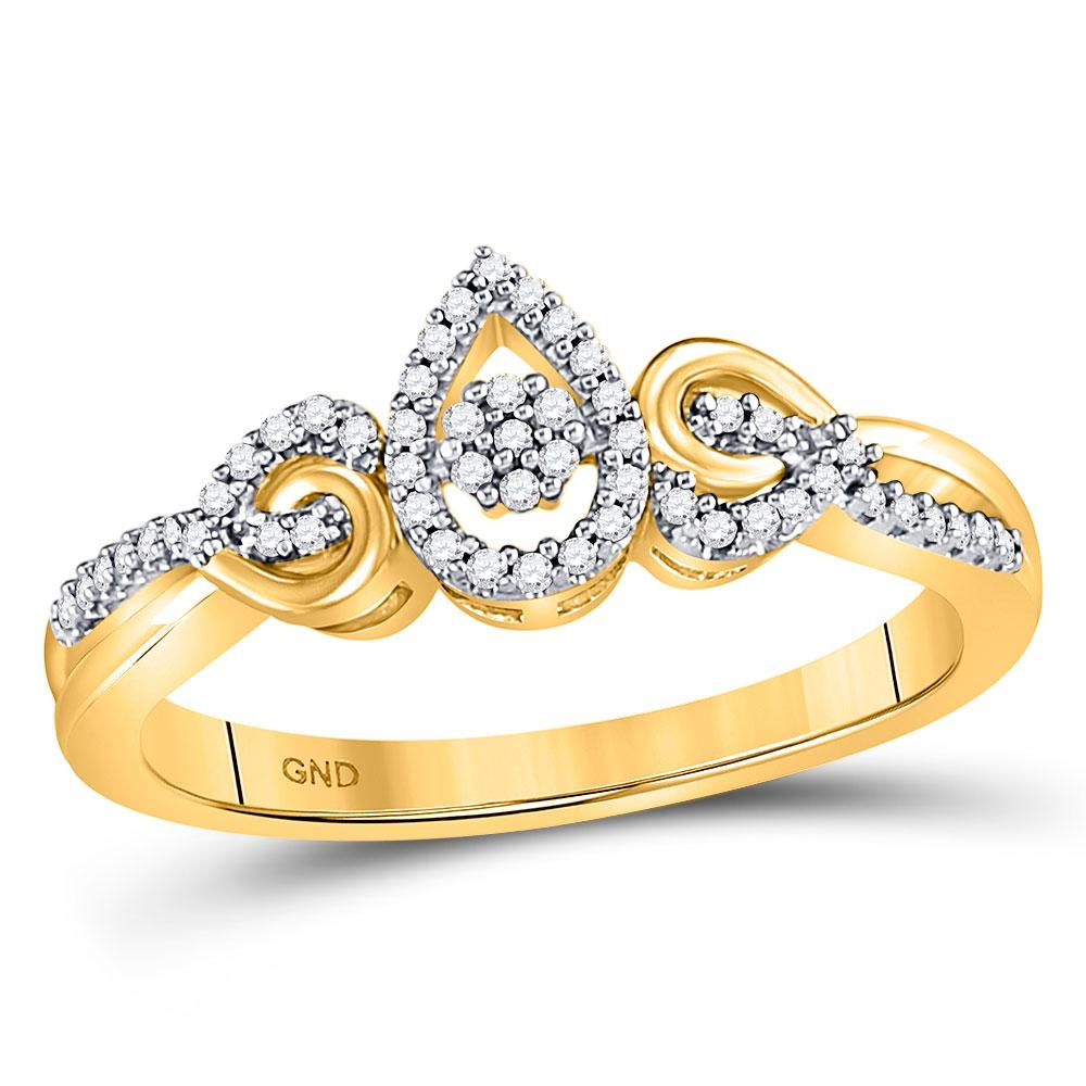 GND Diamond Cluster Ring 10kt Yellow Gold Womens Round Diamond Teardrop Curl Cluster Ring 1/10 Cttw