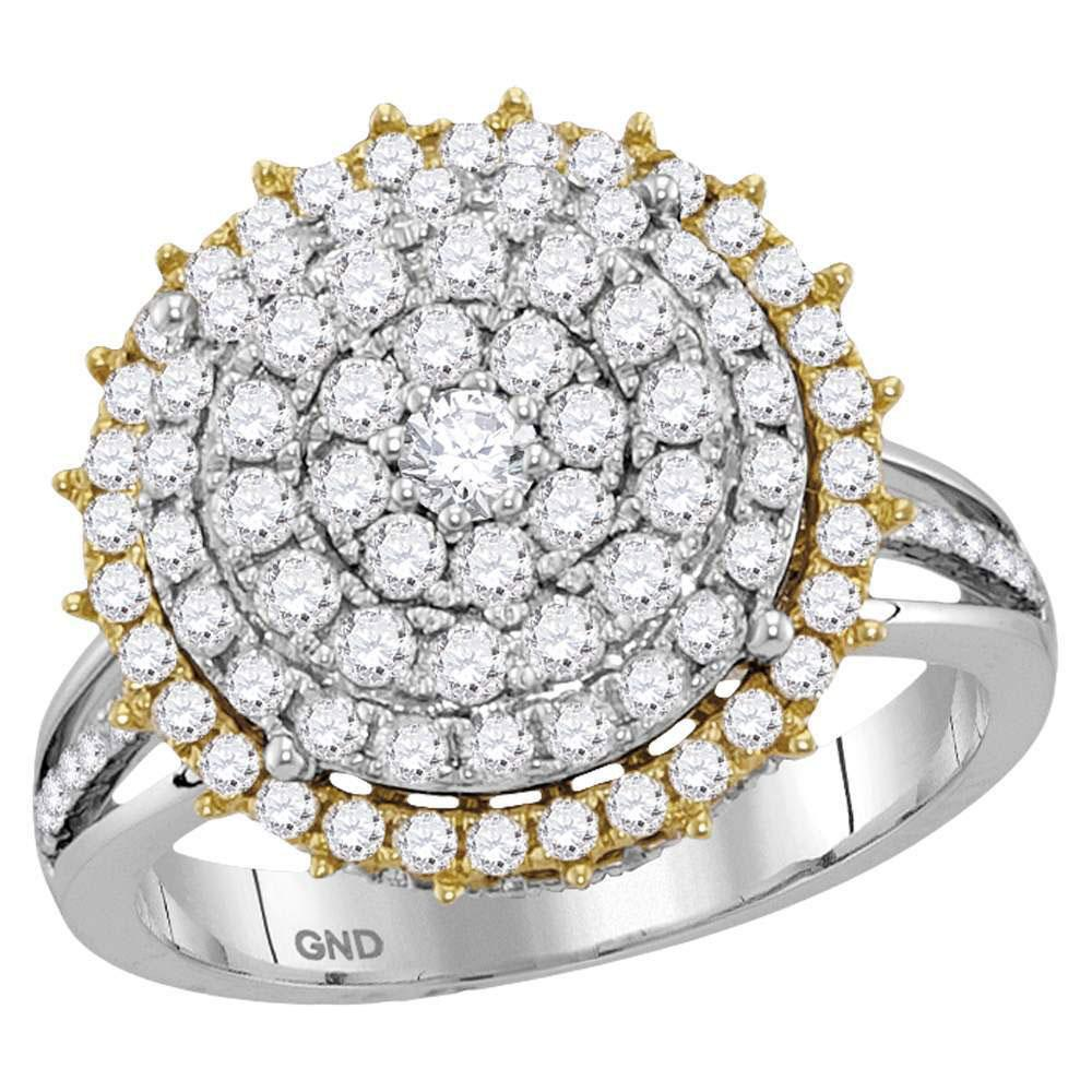 GND Diamond Cluster Ring 14kt Two-tone Gold Womens Round Diamond Right Hand Cocktail Ring 1-1/2 Cttw