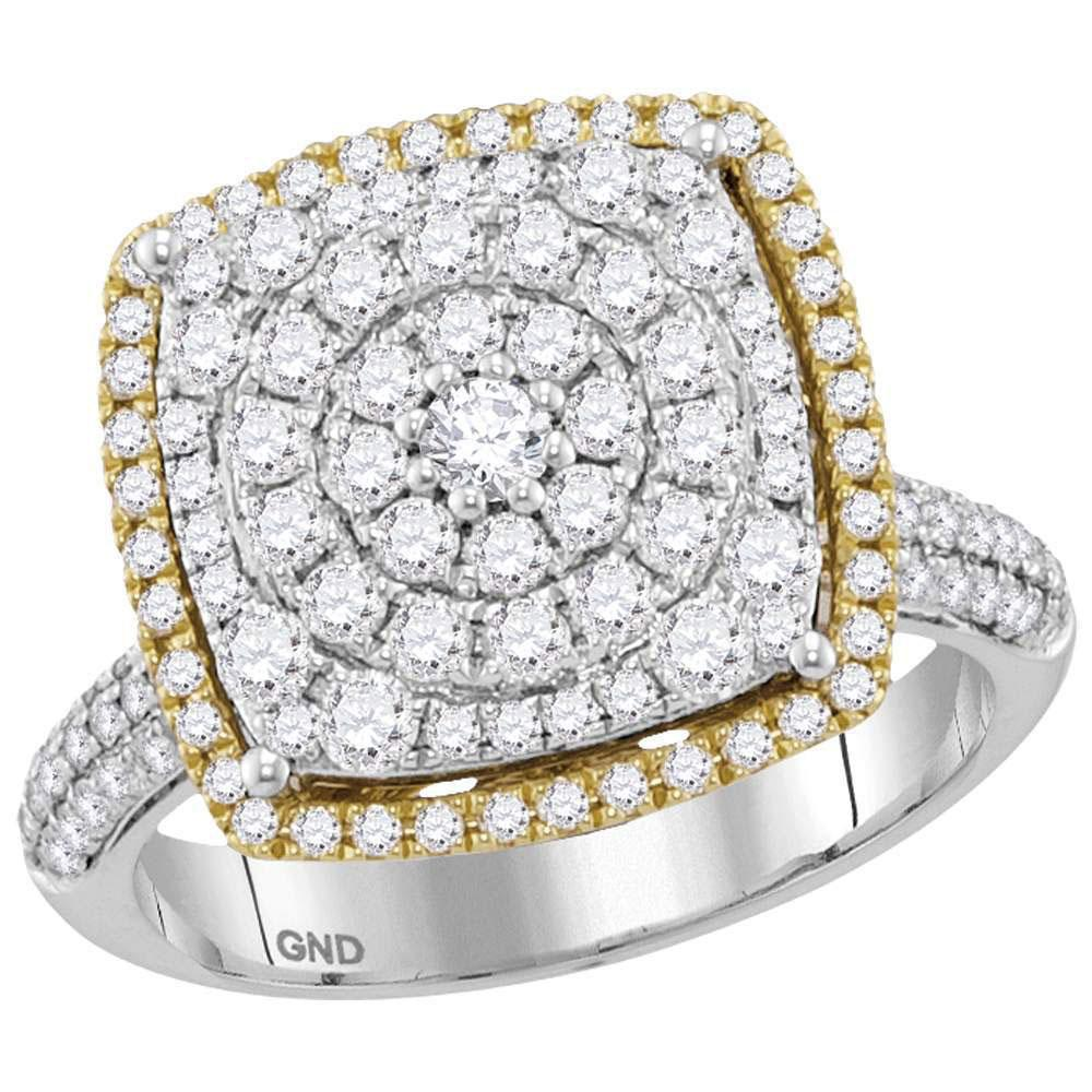 GND Diamond Cluster Ring 14kt Two-tone Gold Womens Round Diamond Square Cluster Ring 1-3/8 Cttw