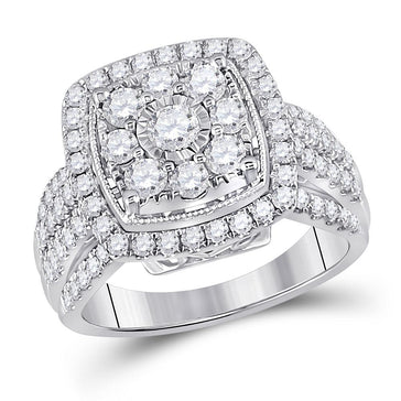 GND Diamond Cluster Ring 14kt White Gold Womens Round Diamond Right Hand Cluster Cushion Ring 1-1/2 Cttw