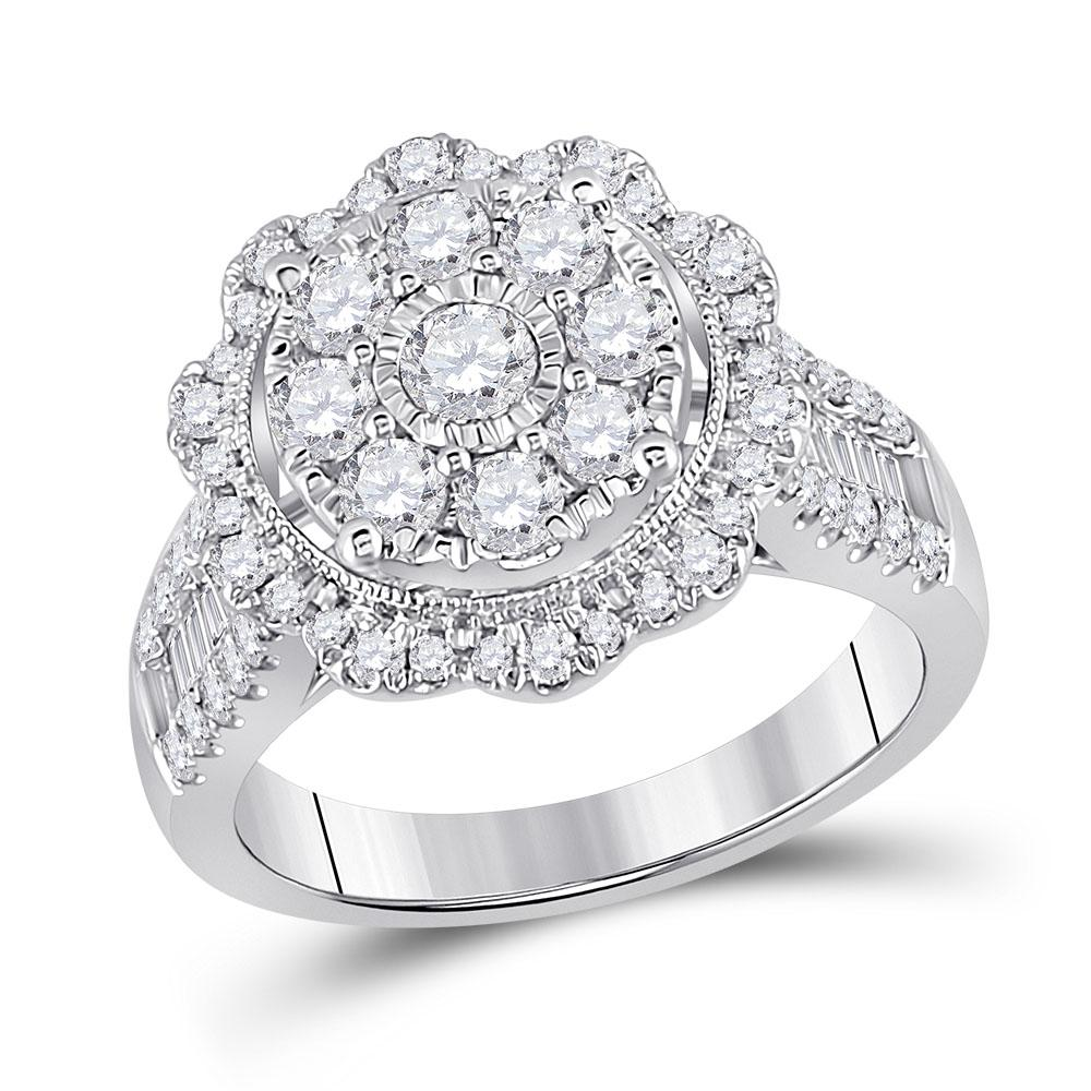 GND Diamond Cluster Ring 14kt White Gold Womens Round Diamond Right Hand Cluster Ring 1-5/8 Cttw