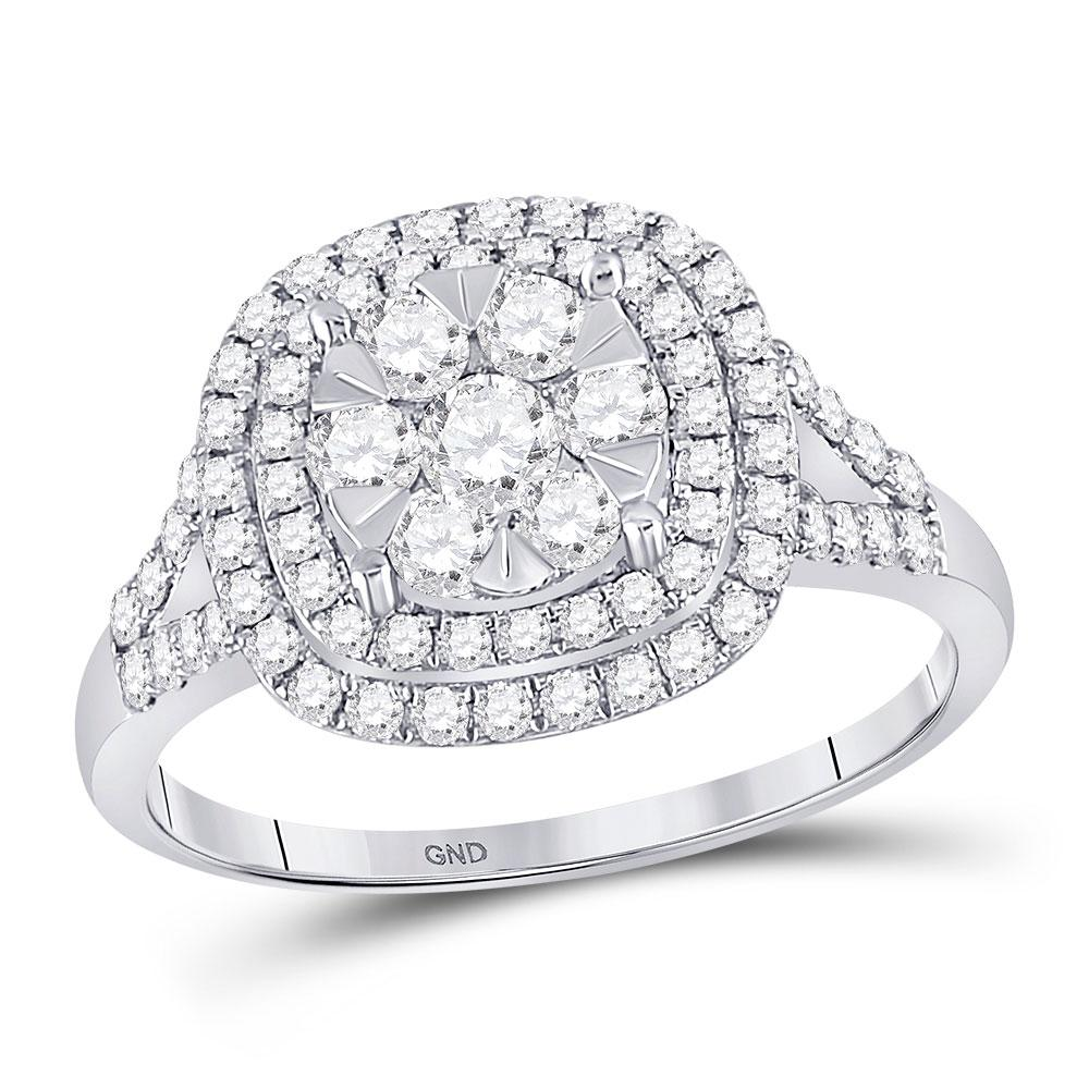 GND Diamond Cluster Ring 14kt White Gold Womens Round Diamond Right-Hand Cluster Ring 1 Cttw