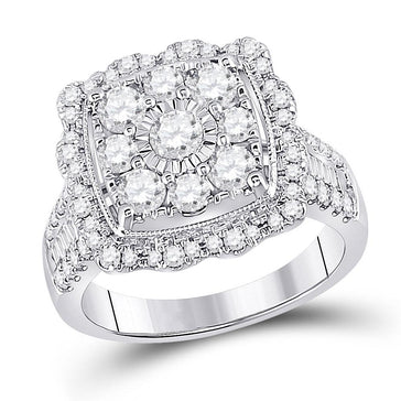 GND Diamond Cluster Ring 14kt White Gold Womens Round Diamond Square Flower Cluster Ring 2 Cttw