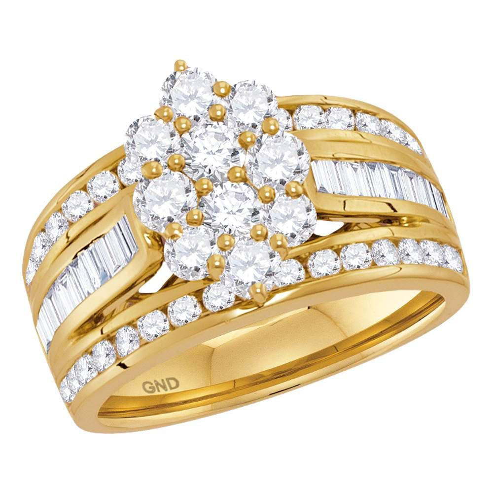GND Diamond Cluster Ring 14kt Yellow Gold Womens Round Diamond Right Hand Cluster Ring 2 Cttw