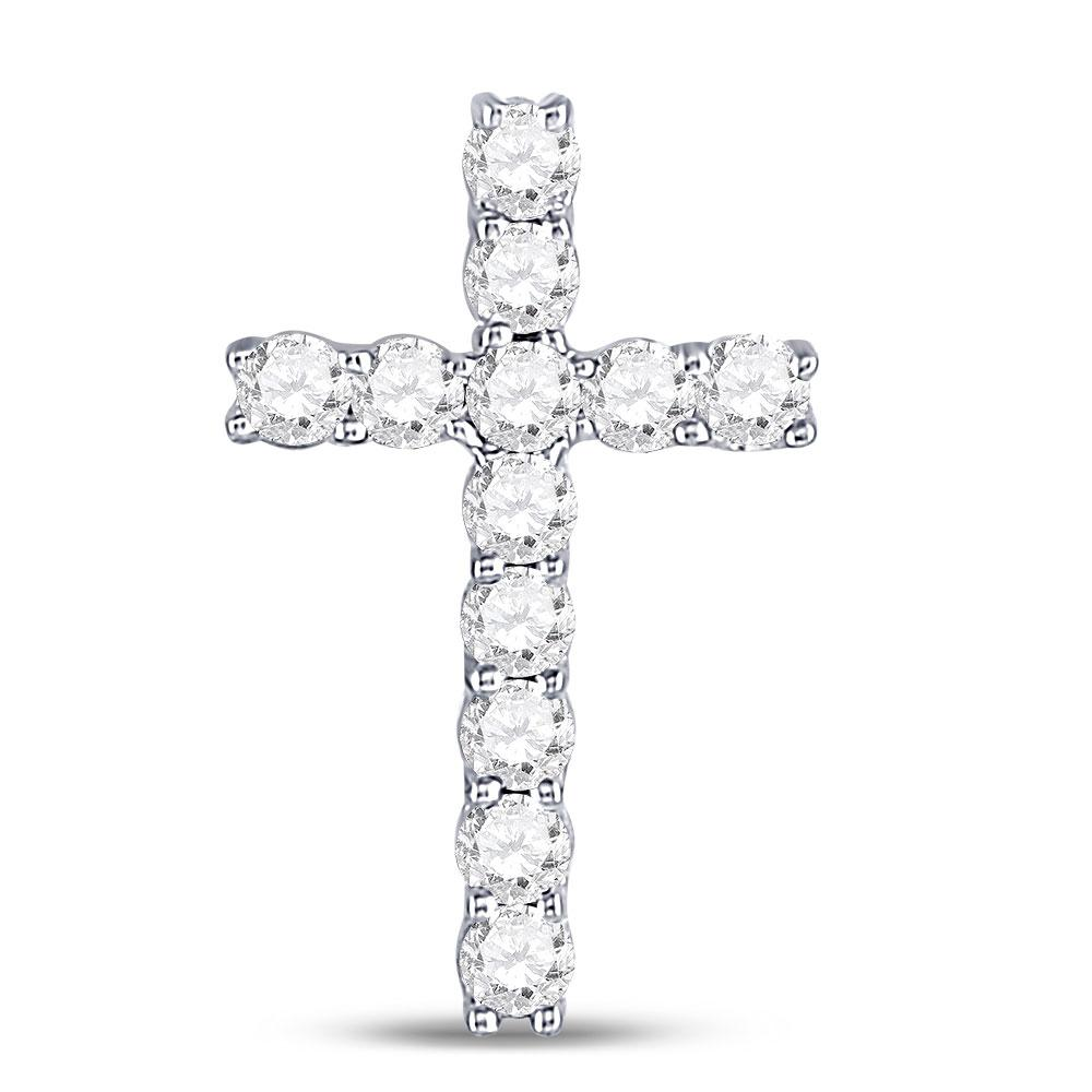 GND Diamond Cross Pendant 10kt White Gold Womens Round Diamond Religious Cross Pendant 1/5 Cttw
