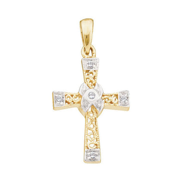 GND Diamond Cross Pendant 10kt Yellow Gold Womens Round Diamond Bounded Cross Pendant 1/20 Cttw