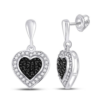 GND Diamond Dangle Earring 10kt White Gold Womens Round Black Color Enhanced Diamond Heart Dangle Earrings 1/2 Cttw