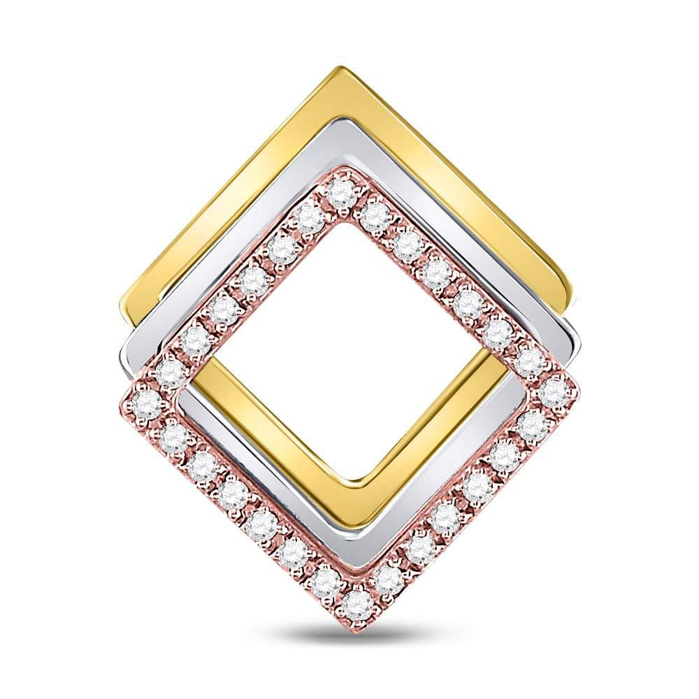 GND Diamond Fashion Pendant 10kt Tri-Tone Gold Womens Round Diamond Diagonal Square Fashion Pendant 1/6 Cttw
