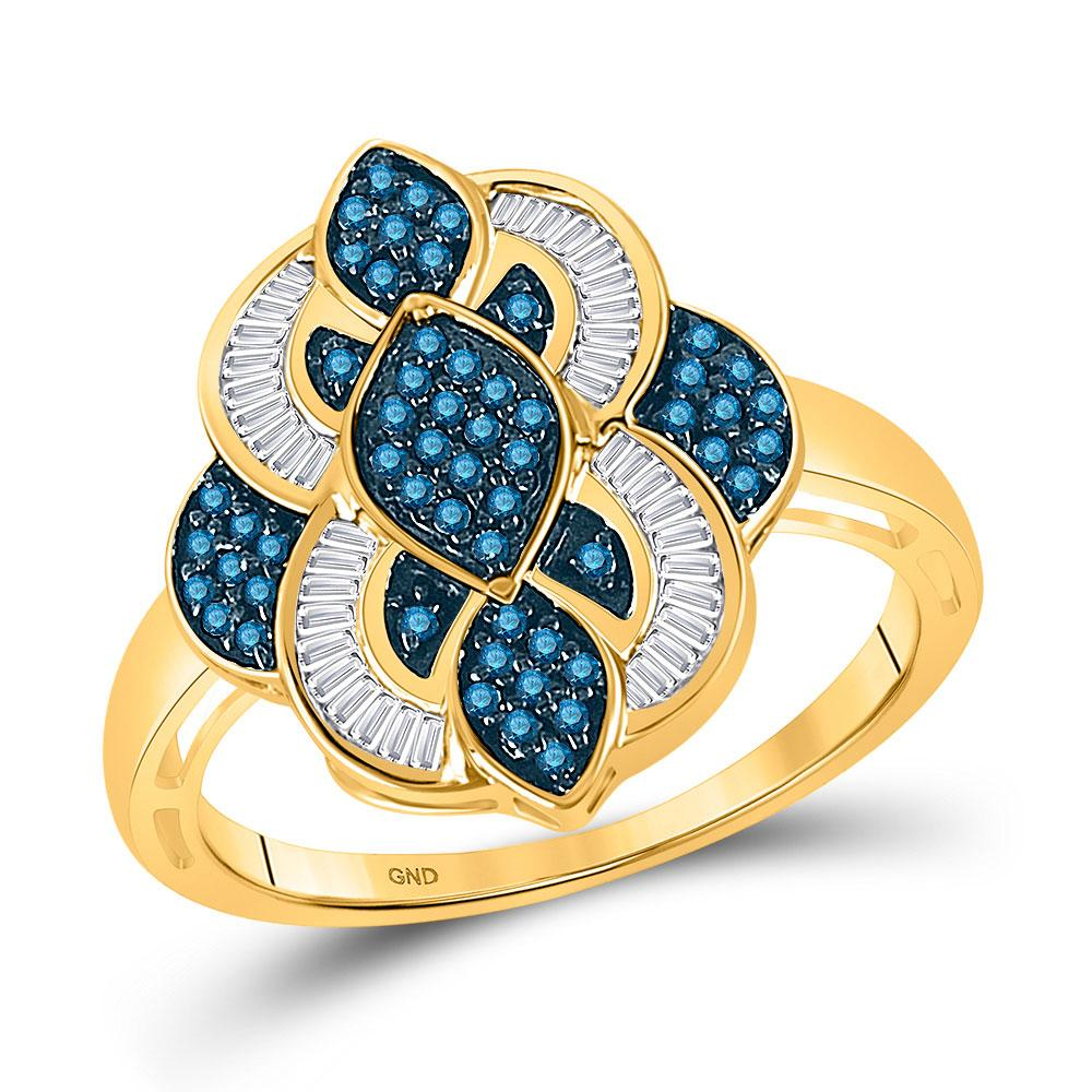 GND Diamond Fashion Ring 10kt Yellow Gold Womens Round Blue Color Enhanced Diamond Wide Fashion Ring 1/2 Cttw