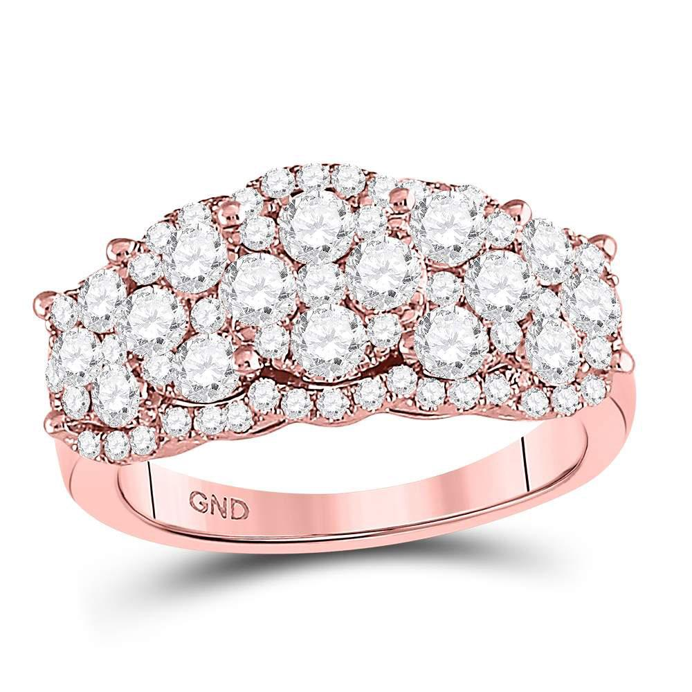 GND Diamond Fashion Ring 14kt Rose Gold Womens Round Diamond Vintage-inspired Fashion Ring 2 Cttw