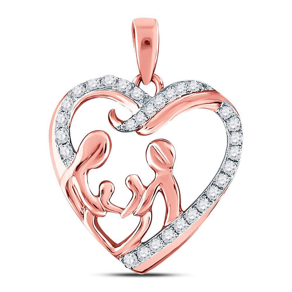 GND Diamond For Mom Pendant 10kt Rose Gold Womens Round Diamond Mother Children Family Heart Pendant 1/4 Cttw
