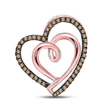 GND Diamond Heart & Love Symbol Pendant 10kt Rose Gold Womens Round Brown Diamond Double Heart Pendant 1/6 Cttw