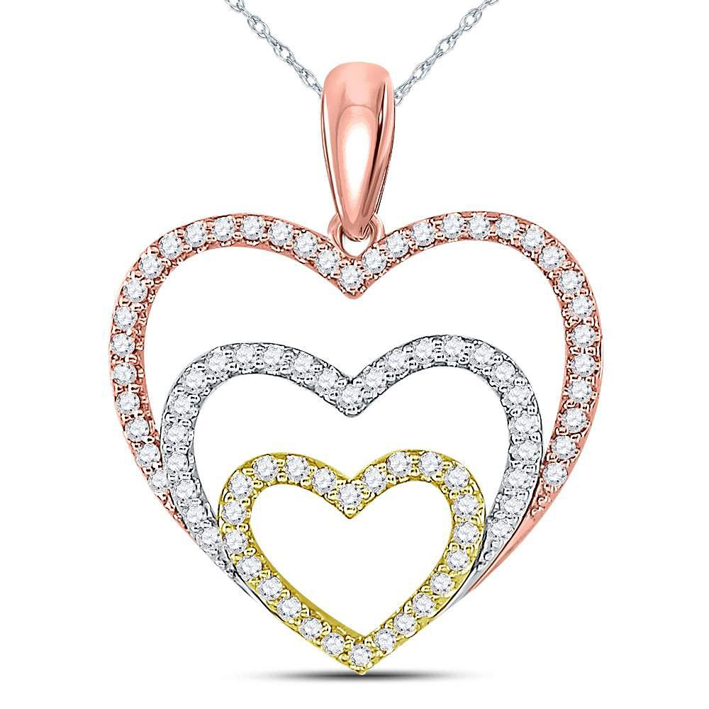 GND Diamond Heart & Love Symbol Pendant 10kt Tri-Tone Gold Womens Round Diamond Triple Nested Heart Pendant 1/3 Cttw