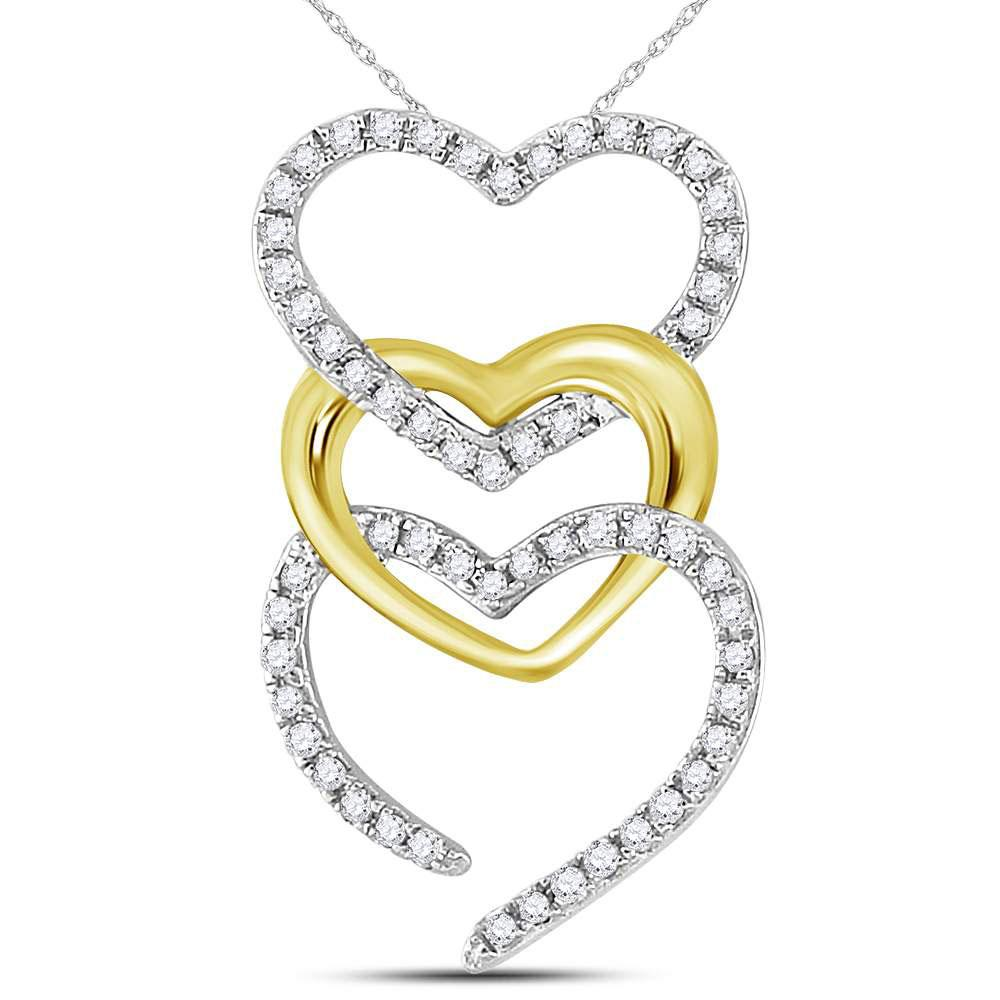 GND Diamond Heart & Love Symbol Pendant 10kt Two-tone Gold Womens Round Diamond Triple Vertical Heart Pendant 1/6 Cttw