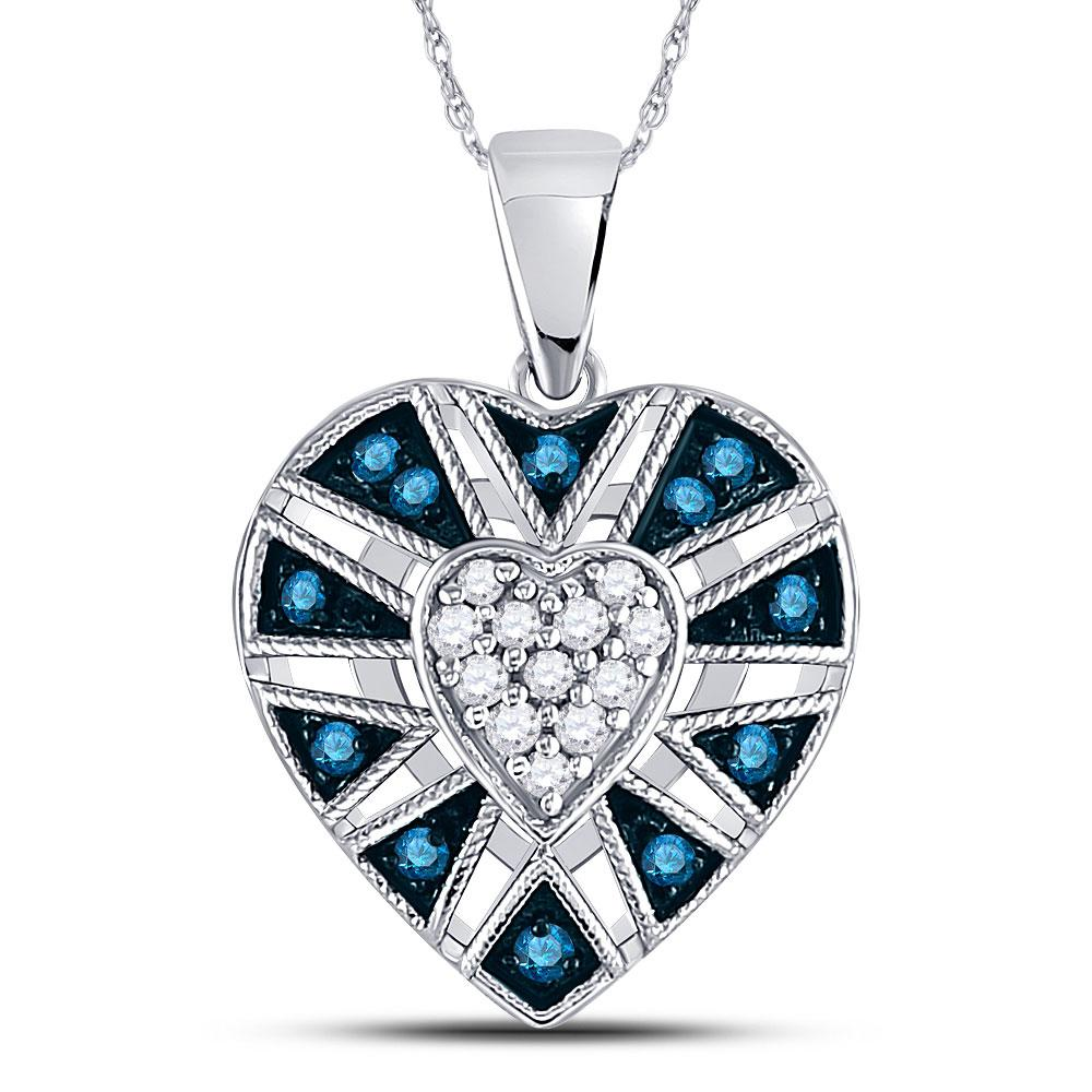 GND Diamond Heart & Love Symbol Pendant 10kt White Gold Womens Round Blue Color Enhanced Diamond Heart Pendant 1/4 Cttw