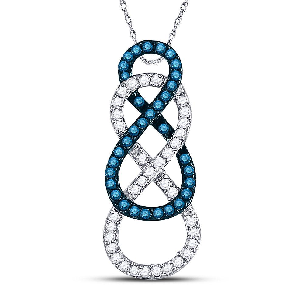 GND Diamond Heart & Love Symbol Pendant 10kt White Gold Womens Round Blue Color Enhanced Diamond Linked Infinity Pendant 1/4 Cttw