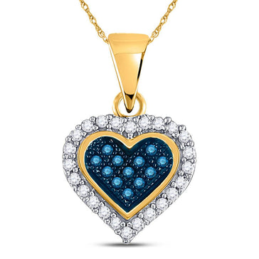 GND Diamond Heart & Love Symbol Pendant 10kt Yellow Gold Womens Round Blue Color Enhanced Diamond Heart Pendant 1/8 Cttw