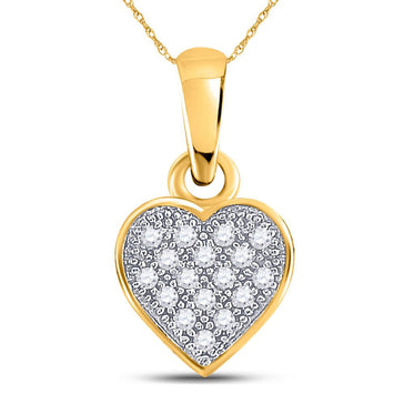 GND Diamond Heart & Love Symbol Pendant 10kt Yellow Gold Womens Round Diamond Cluster Small Heart Pendant 1/20 Cttw