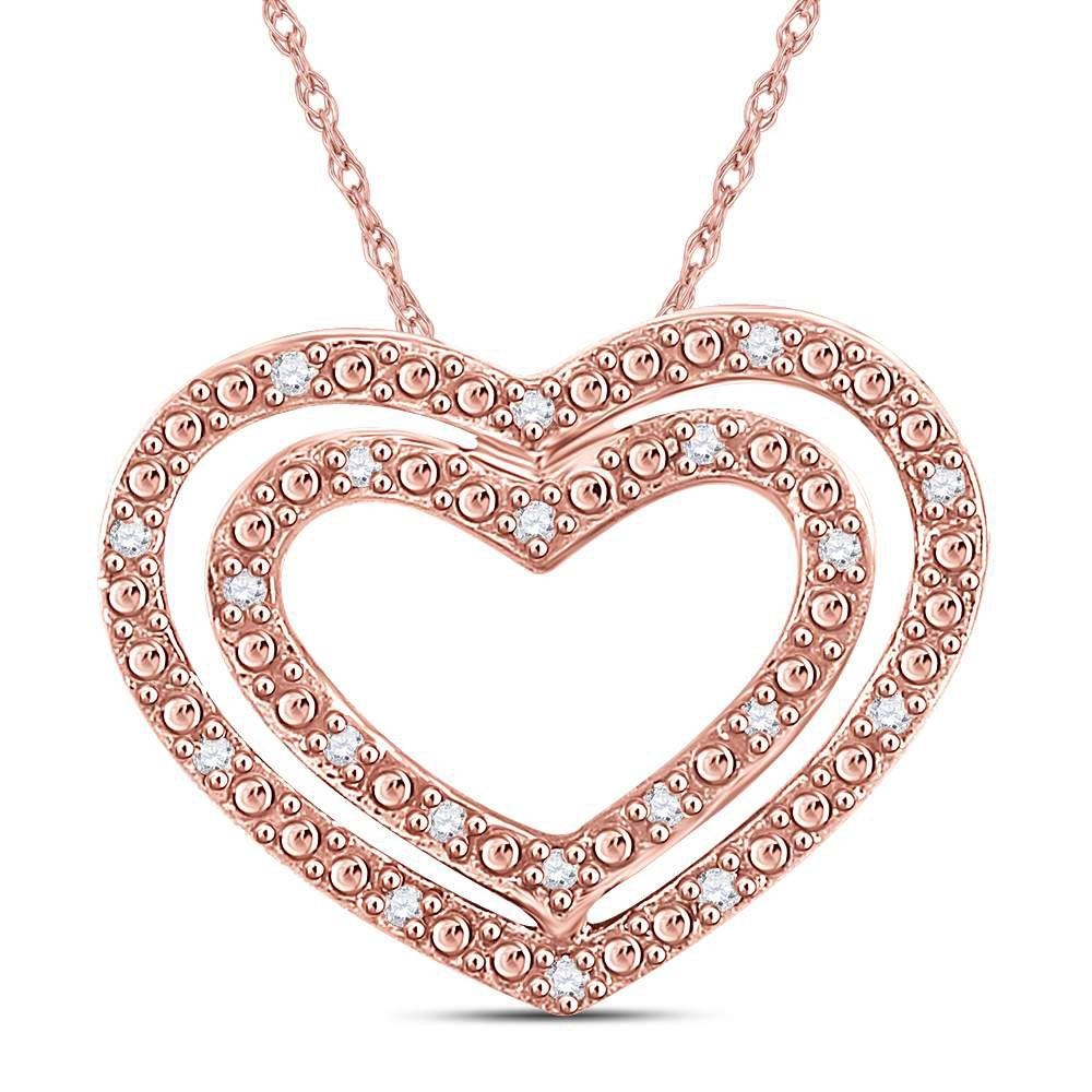 GND Diamond Heart & Love Symbol Pendant 14kt Rose Gold Womens Round Diamond Double Heart Pendant 1/12 Cttw