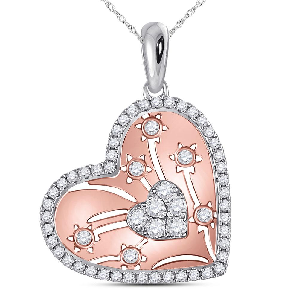GND Diamond Heart & Love Symbol Pendant 14kt Two-tone Gold Womens Round Diamond Floral Cluster Heart Pendant 1/2 Cttw