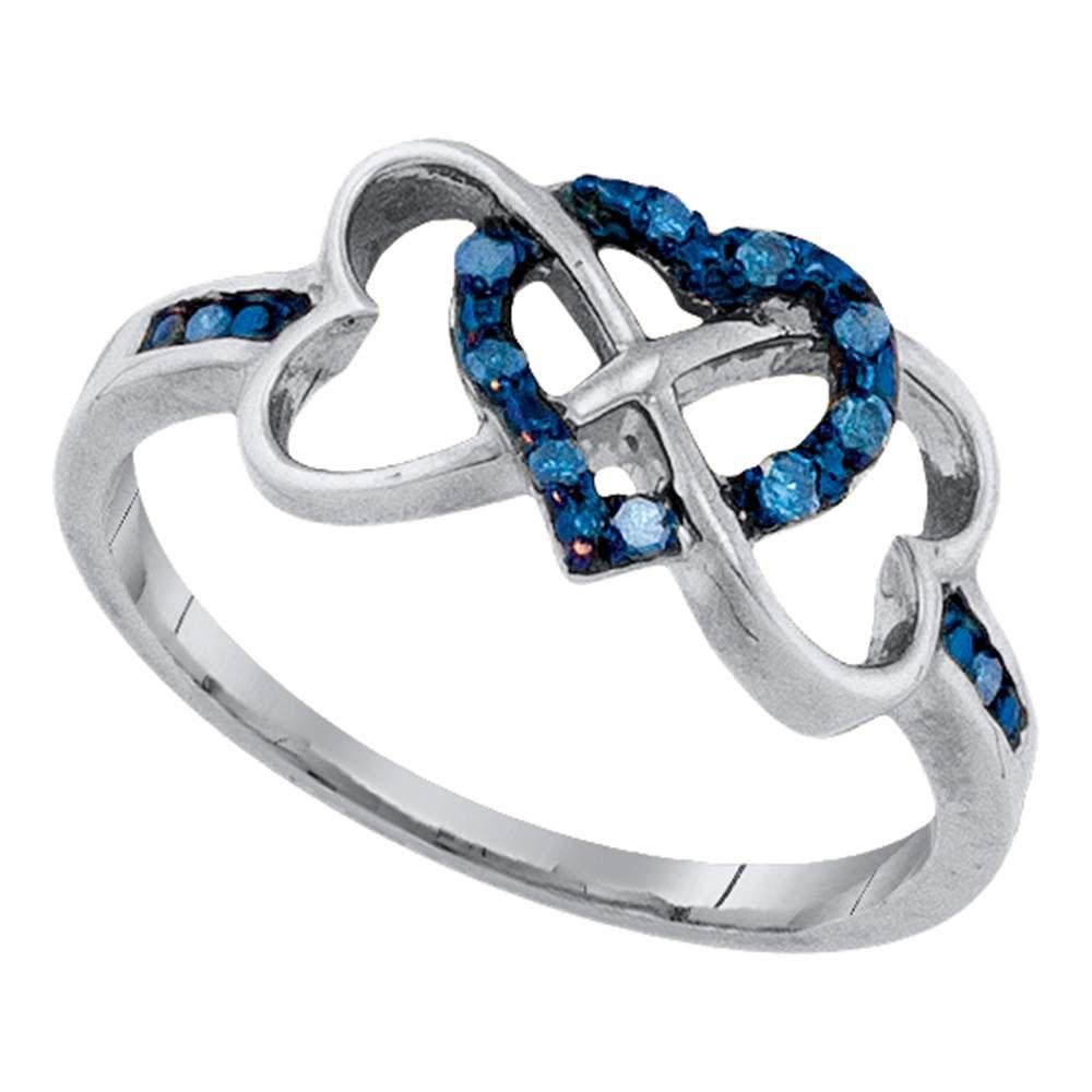 GND Diamond Heart Ring 10kt White Gold Womens Round Blue Color Enhanced Diamond Triple Trinity Heart Ring 1/10 Cttw