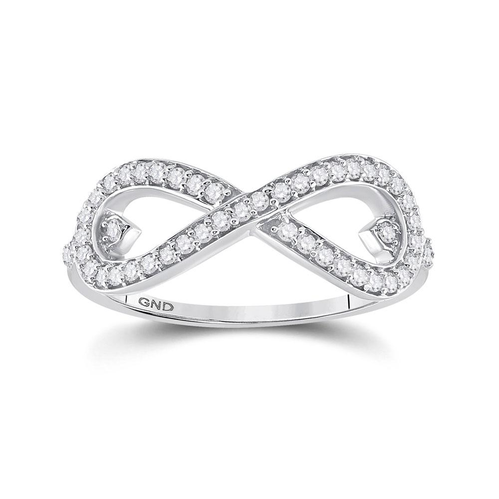 GND Diamond Heart Ring 10kt White Gold Womens Round Diamond Infinity Ring 1/3 Cttw