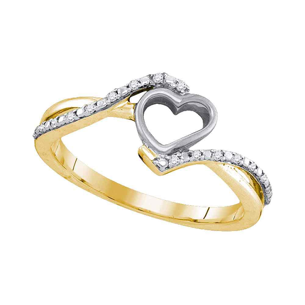 GND Diamond Heart Ring 10kt Yellow Gold Womens Round Diamond Heart Ring 1/20 Cttw