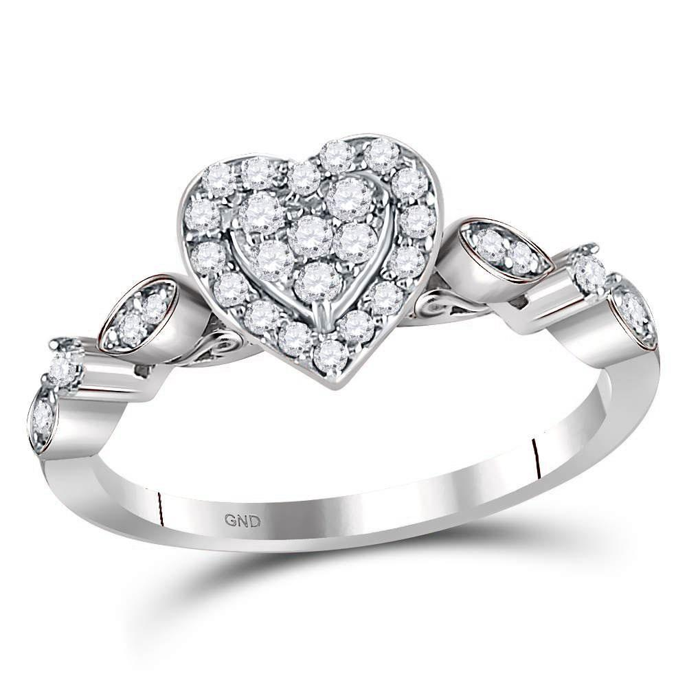 GND Diamond Heart Ring 14kt White Gold Womens Round Diamond Heart Cluster Ring 1/3 Cttw