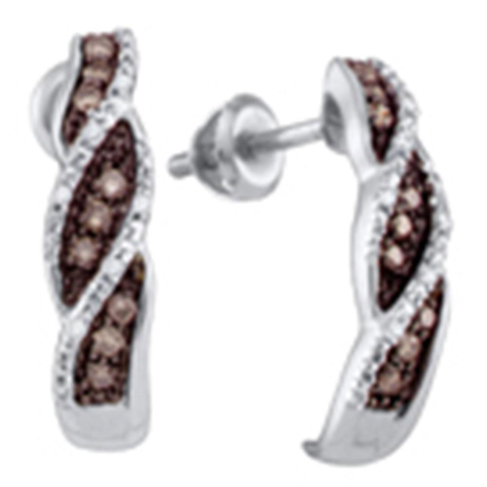 GND Diamond Hoop Earring 10kt White Gold Womens Round Brown Diamond Stud Earrings 1/5 Cttw