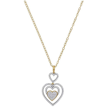GND Diamond Pendant Necklace 10kt Yellow Gold Womens Round Diamond Triple Nested Heart Pendant Necklace 1/3 Cttw
