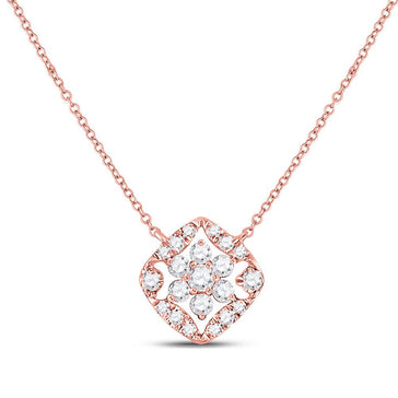 GND Diamond Pendant Necklace 14kt Rose Gold Womens Round Diamond Floral Cluster Necklace 1/3 Cttw
