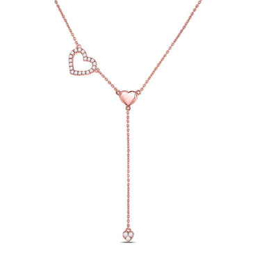 GND Diamond Pendant Necklace 14kt Rose Gold Womens Round Diamond Heart Drop Pendant Necklace 1/6 Cttw