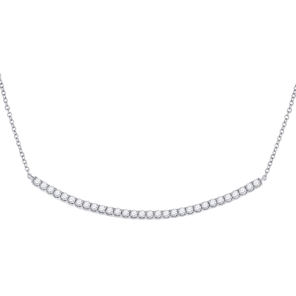 GND Diamond Pendant Necklace 14kt White Gold Womens Round Diamond Curved Bar Necklace 1 Cttw