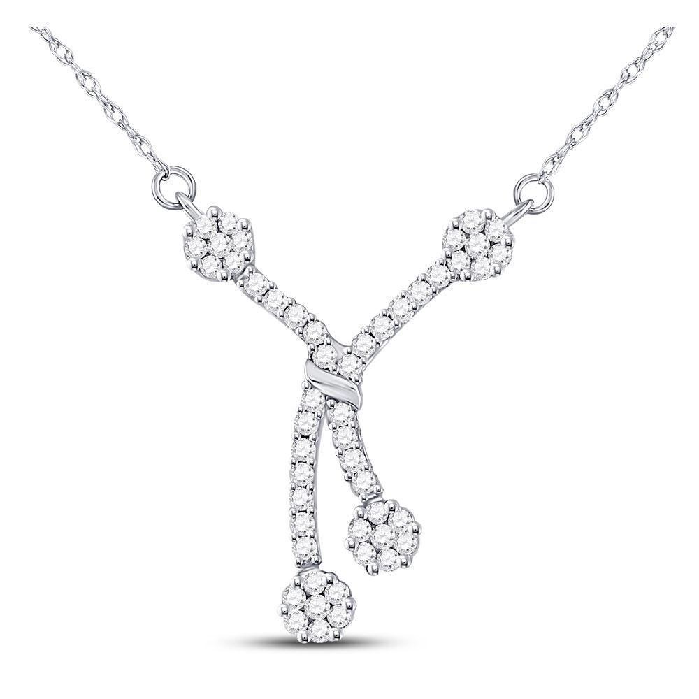 GND Diamond Pendant Necklace 14kt White Gold Womens Round Diamond Dangle Flower Cluster Fashion Necklace 1/2 Cttw