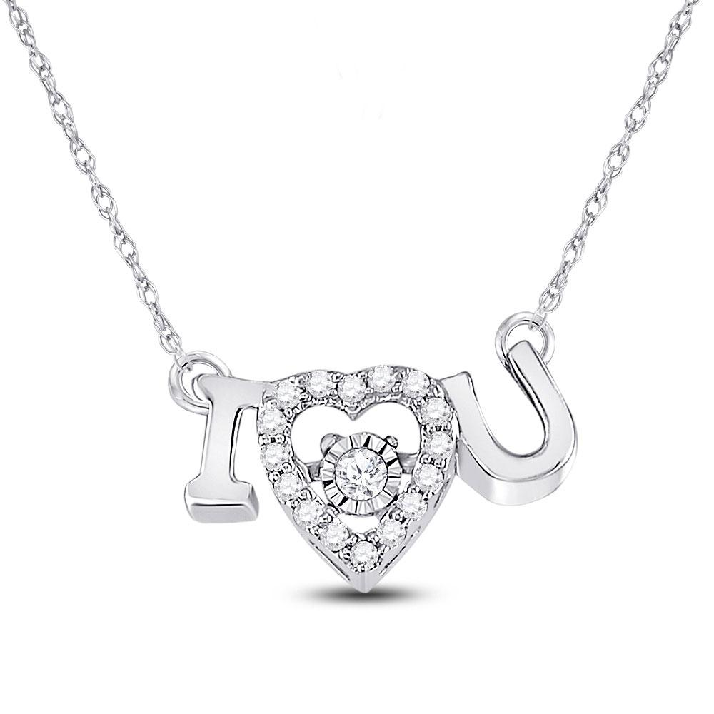 GND Diamond Pendant Necklace 14kt White Gold Womens Round Diamond I Love U Heart Pendant Necklace 1/10 Cttw