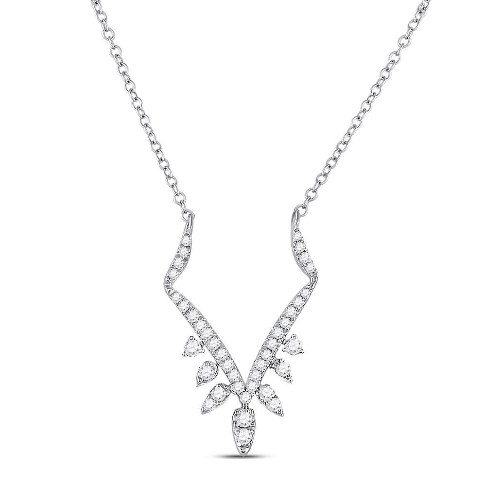GND Diamond Pendant Necklace 14kt White Gold Womens Round Diamond Modern-V Fashion Necklace 1/4 Cttw