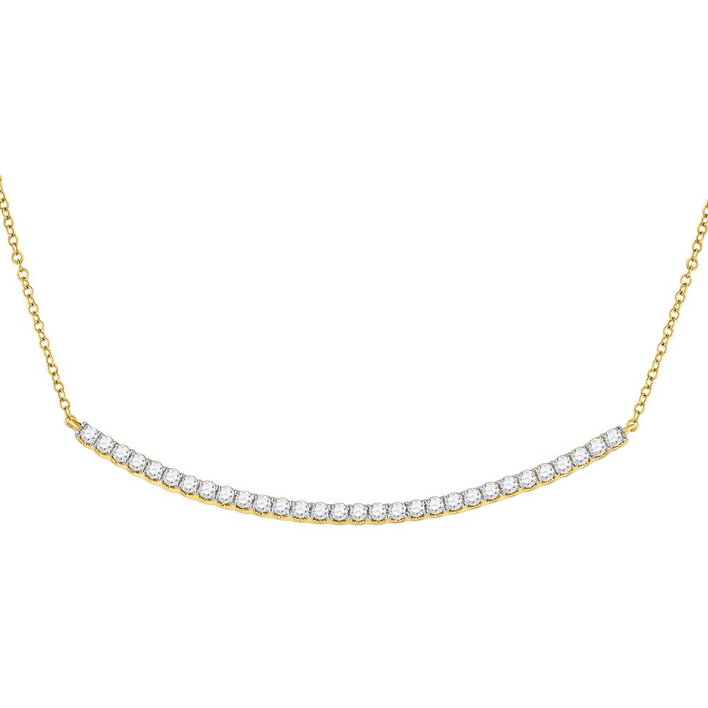 GND Diamond Pendant Necklace 14kt Yellow Gold Womens Round Diamond Curved Bar Necklace 1 Cttw