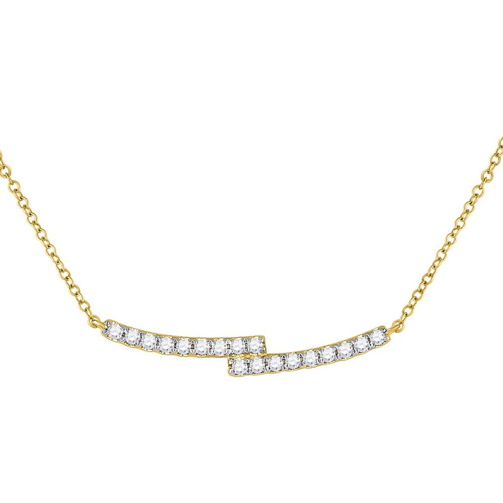 GND Diamond Pendant Necklace 14kt Yellow Gold Womens Round Diamond Curved Bypass Bar Necklace 1/2 Cttw