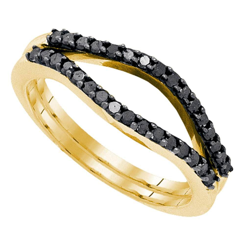 GND Diamond Ring Guard 10kt Yellow Gold Womens Round Black Color Enhanced Diamond Wrap Ring Guard Enhancer 1/3 Cttw