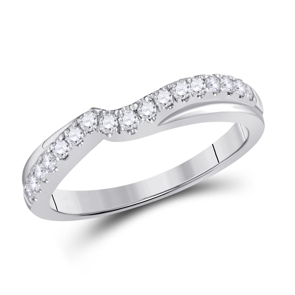 GND Diamond Ring Guard 14kt White Gold Womens Round Diamond Contour Wrap Ring Guard Enhancer 1/3 Cttw