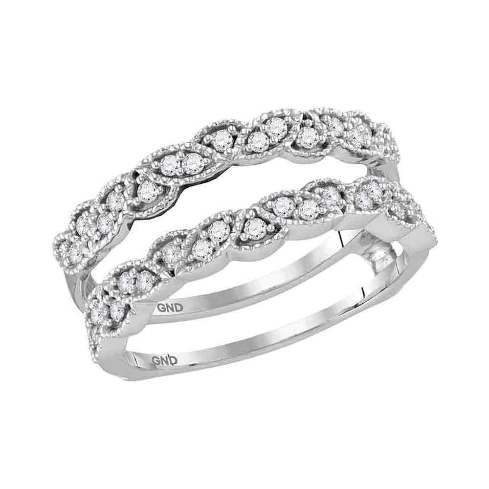 GND Diamond Ring Guard 14kt White Gold Womens Round Diamond Milgrain Solitaire Enhancer Wedding Band 1/3 Cttw
