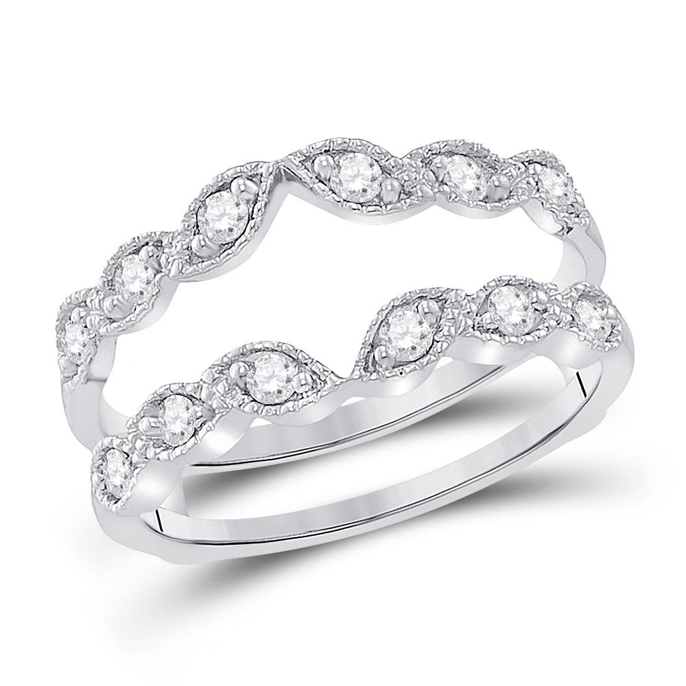 GND Diamond Ring Guard 14kt White Gold Womens Round Diamond Milgrain Wrap Ring Guard Enhancer 1/3 Cttw