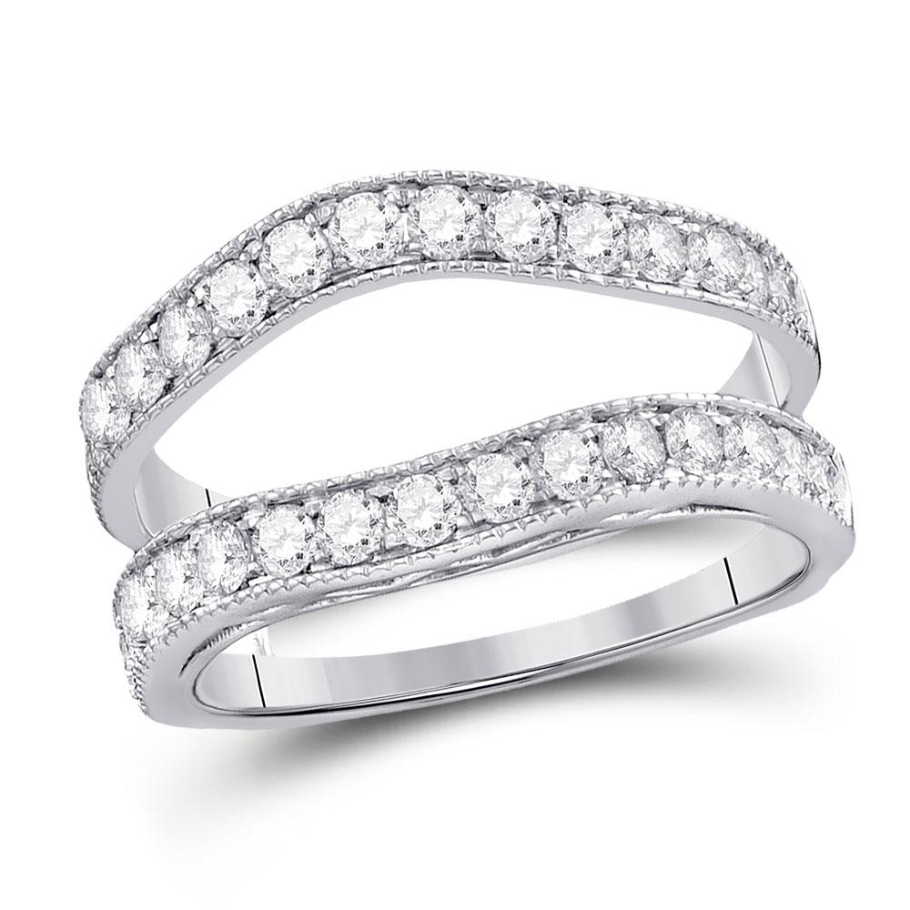 GND Diamond Ring Guard 14kt White Gold Womens Round Diamond Milgrain Wrap Ring Guard Enhancer 1 Cttw