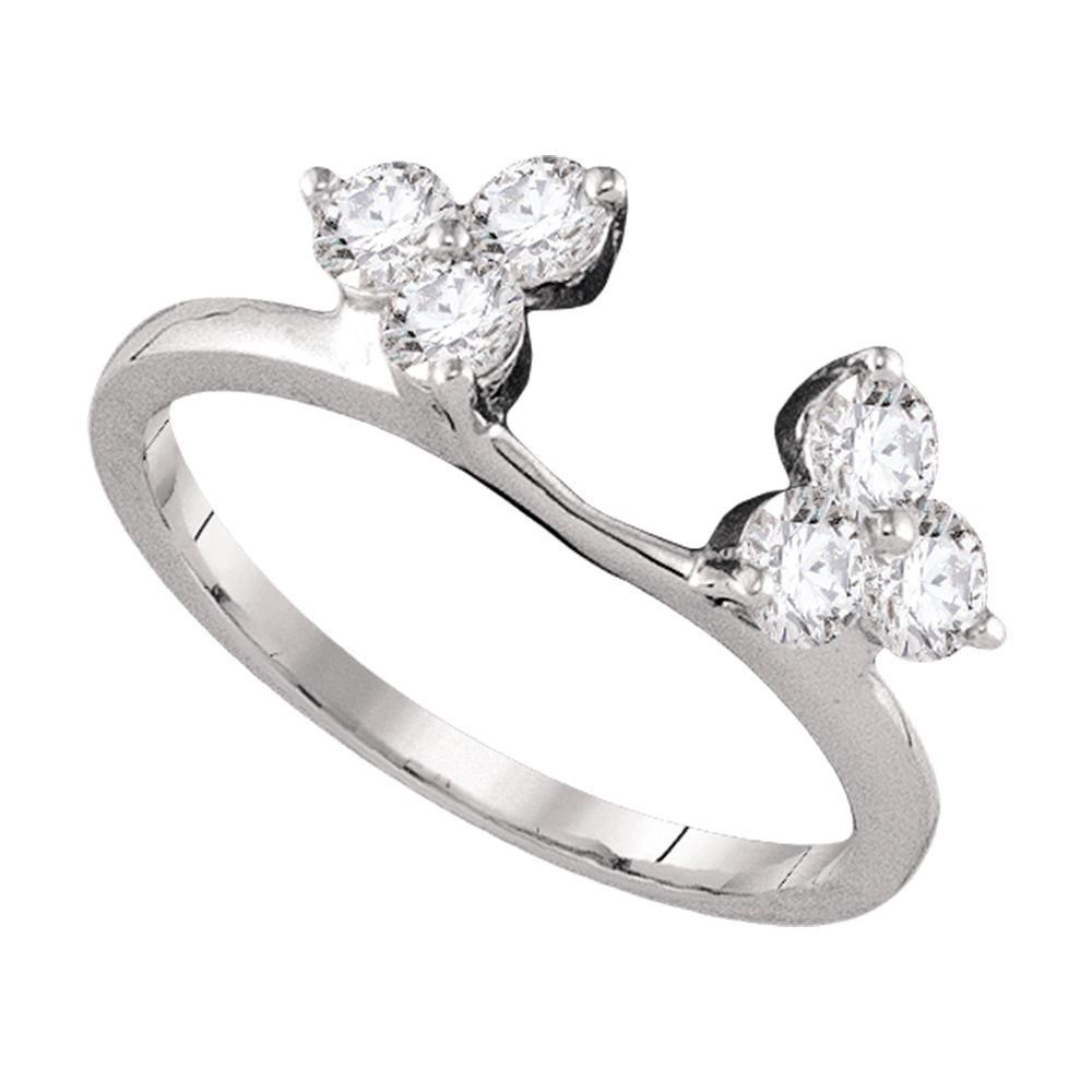 14kt White Gold Womens Round Diamond Ring Guard Wrap Enhancer Band 3/4 Cttw