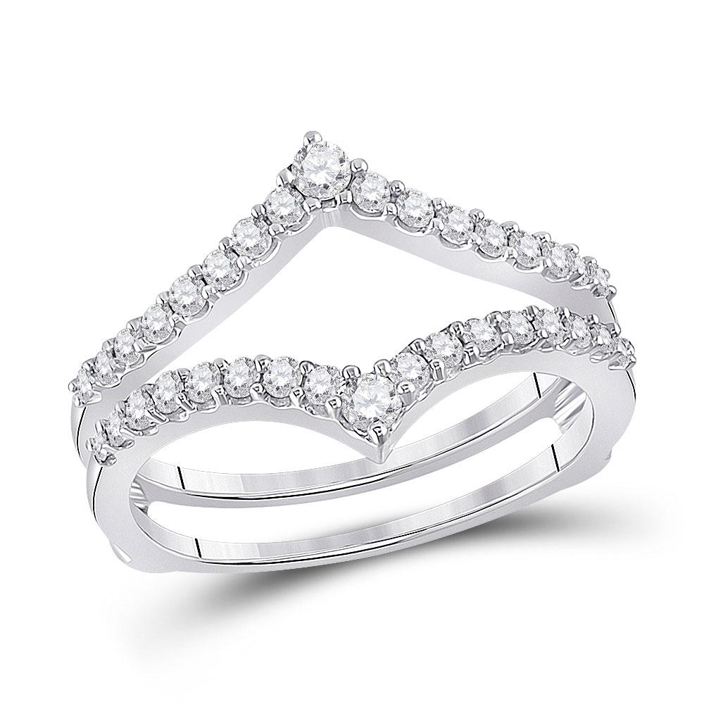 GND Diamond Ring Guard 14kt White Gold Womens Round Diamond Ring Guard Wrap Enhancer Wedding Band 1/2 Cttw