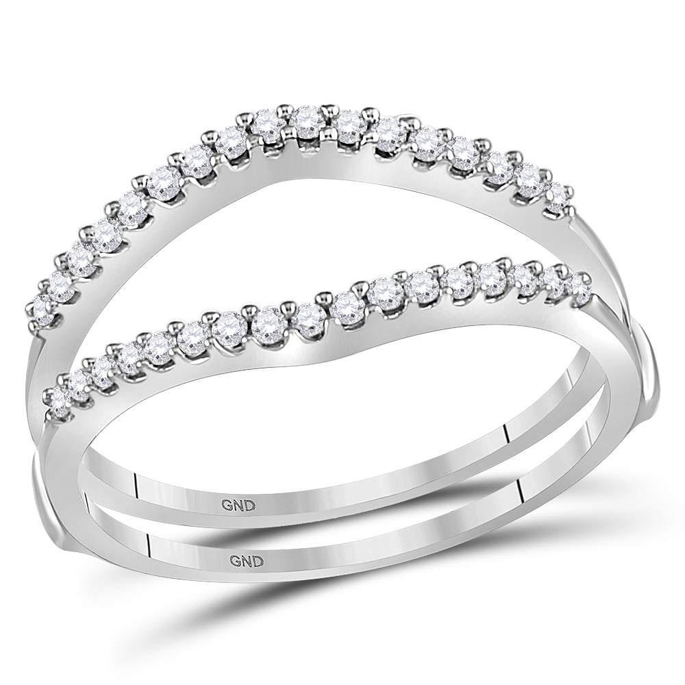 GND Diamond Ring Guard 14kt White Gold Womens Round Diamond Ring Guard Wrap Enhancer Wedding Band 1/4 Cttw