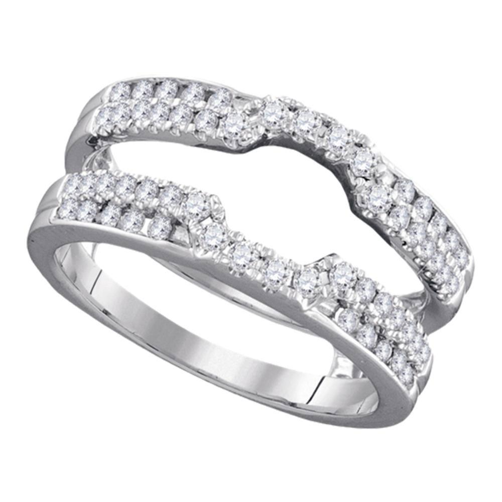 GND Diamond Ring Guard 14kt White Gold Womens Round Diamond Solitaire Enhancer Wedding Band 1/2 Cttw