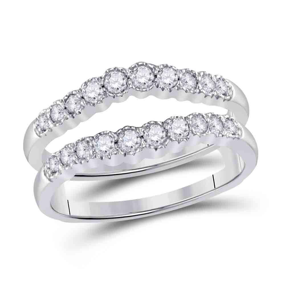 GND Diamond Ring Guard 14kt White Gold Womens Round Diamond Wrap Ring Guard Enhancer 1/2 Cttw